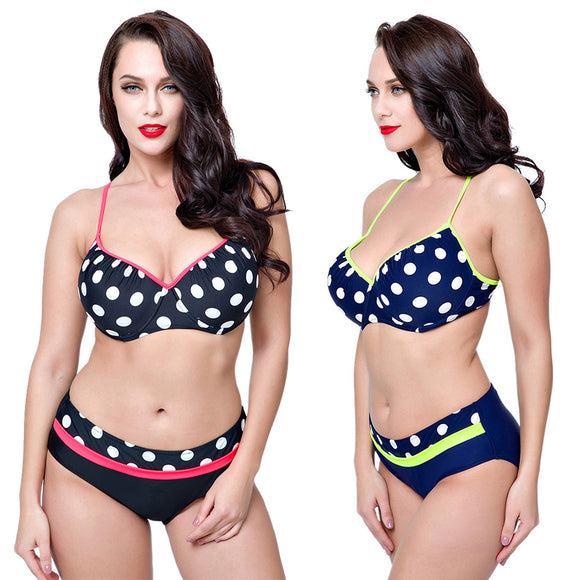 Summer Women's Sexy Bikini Polka Dots Two-pieces Swimwear Beautiful Swimsuit Set