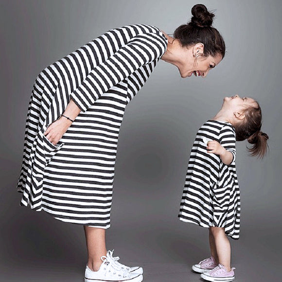 Mother and Daughter Casual Stripe Maxi Dress Mommy & Me Matching Outfit Summer