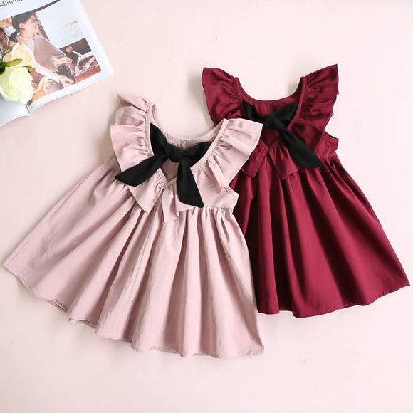 Toddler Kids Baby Girl Fly Sleeve Bow Dress Princess Party Pageant Beach Dresses