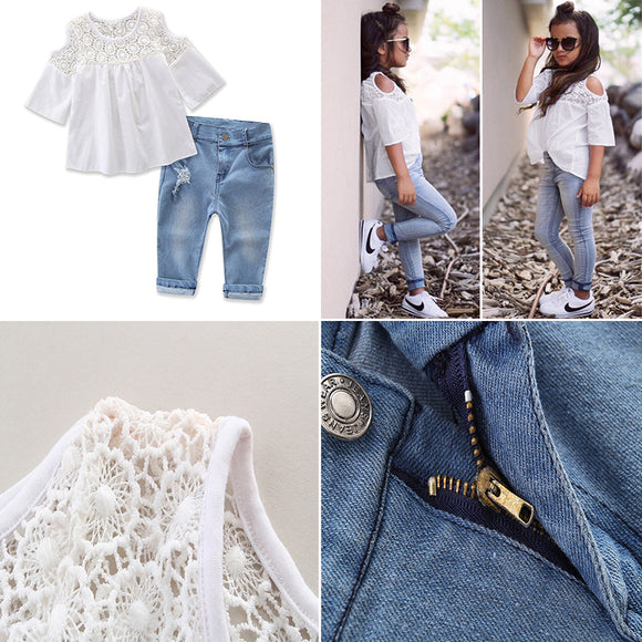 2PCS Toddler Kids Baby Girl Lace T-shirt Tops + Denim Pants Jeans Clothes Set DS