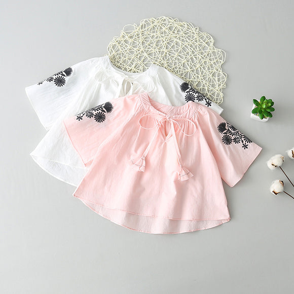 Toddler Kids Baby Girl Round Neck Half Sleeve Floral Pattern Tops T Shirt Blouse