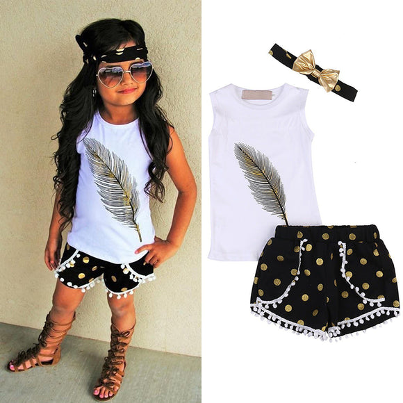 2PCS Toddler Baby Girls T-Shirt Vest Tops+Pants Shorts Kids Clothes Outfits Set