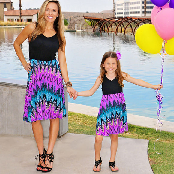 Mother and Daughter Matching Summer Boho Sleeveless Dress Sundress Set Outfits