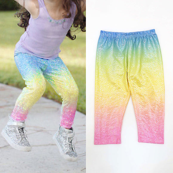 Kids Girls Floral Sequin Beads Leggings Pants Colorful Childrens Pants 2-6Y