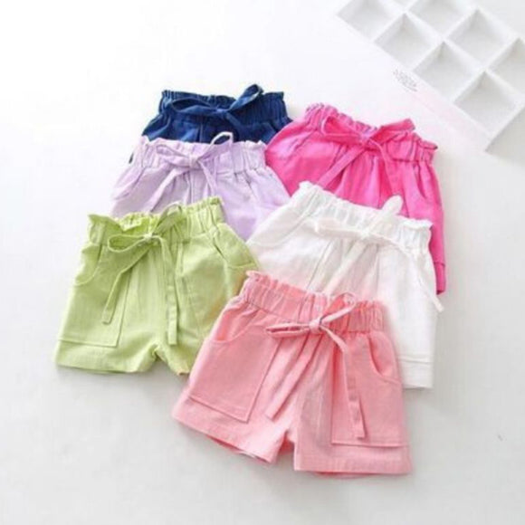 Baby Toddler Girls Summer Beach Shorts Kids Bowknot Shorts Pants Trousers Casual