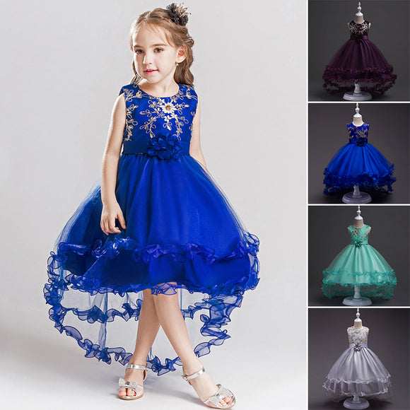 Flower Girls Party Dress Wedding Birthday Formal Pageant Tulle Tutu Dress 3-10Y