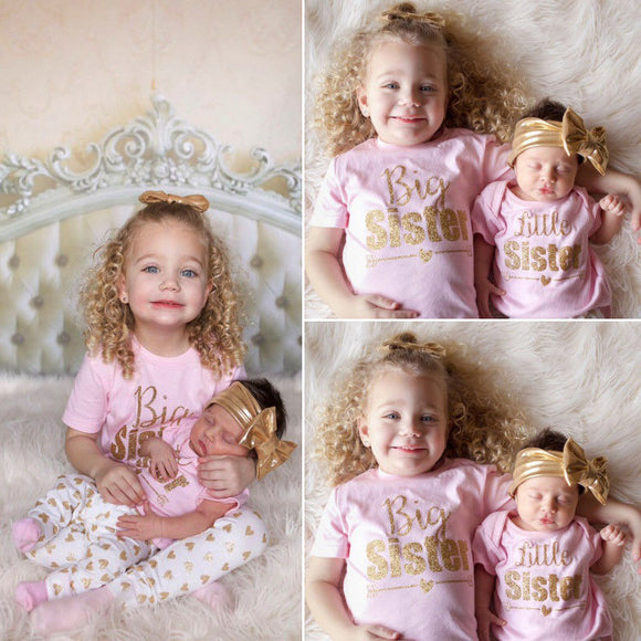 FOR Newborn Baby Sisters Girls Romper Cotton T-shirt Tops+Pants Leggings Outfits
