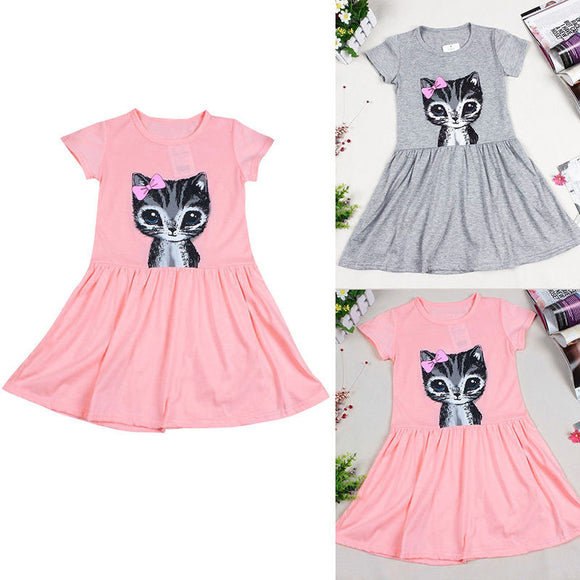 Princess Baby Kids Girl Cotton Cat Print Casual Dress Summer Party Dress Clothes