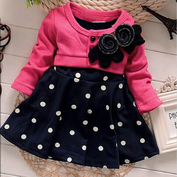 Cute Kids Girls Summer Party/Wedding Long Sleeve Cotton Tutu Dress