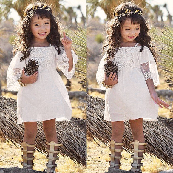 Flower Girl Princess Dress Kids Baby Party Wedding Pageant Lace Dresses Age 1-6Y