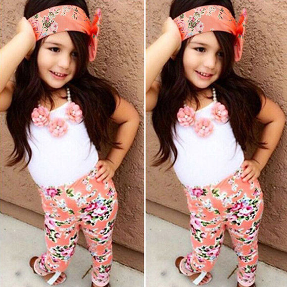 Fashion Girls Kids Outfits Style CASUAL T-shirt Tops Pants Leggings 2Pcs Clothes