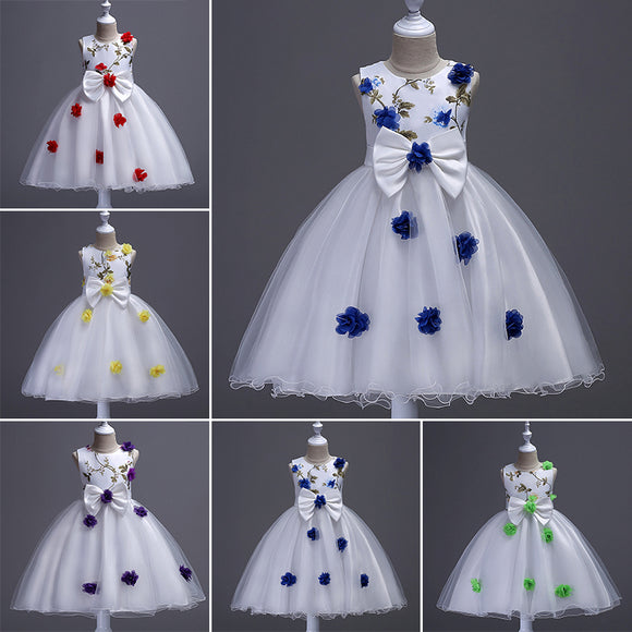 Flower Dress Princess Tutu Baby Summer Formal Girls Tulle Newborn Clothes Round
