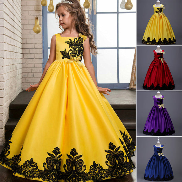 Flower Girl Princess Pageant Gown Wedding Party Formal Birthday Tutu Dress 3-14Y