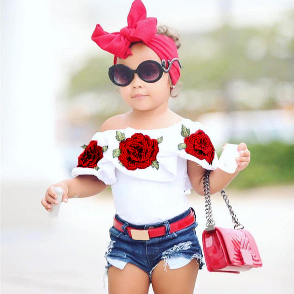 Charm Newborn Baby Girls Casual Summer Clothes Off Shoulder Floral Pattern Tops