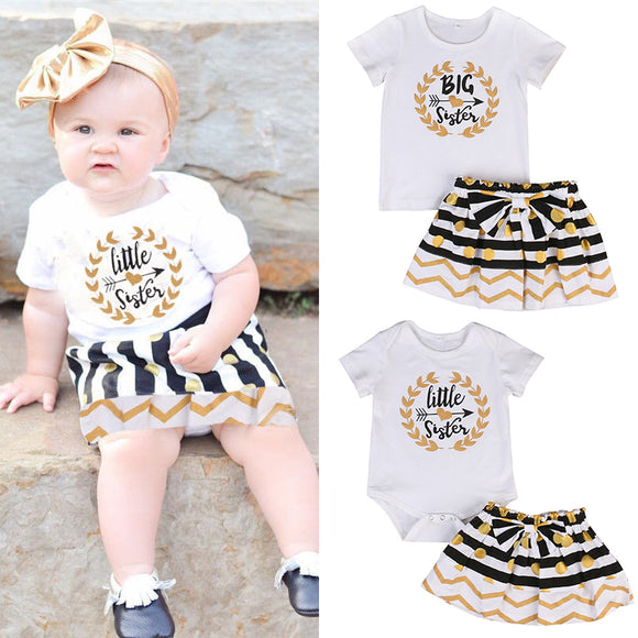 Infant Baby Girl Little Big Sister Matching Clothes Romper T-shirt Skirt Outfits