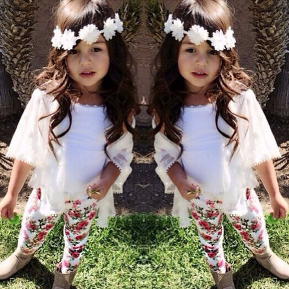 Baby Girl Casual Loose Long 3/4 Sleeve Cover-up+T-shirt+Floral Pants
