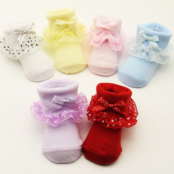 1 Pair Girl Kids Newborn Tiny Baby Warm Bowknot Soft Non-slip Cotton Ankle Socks