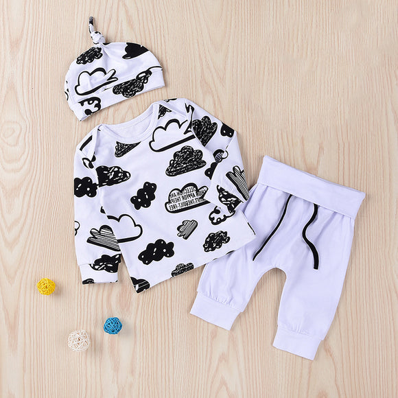 Autumn Warm Baby Girl Clothes Boy Outfit Outfits Long Sleeve Tops+Pants+Hat Sets