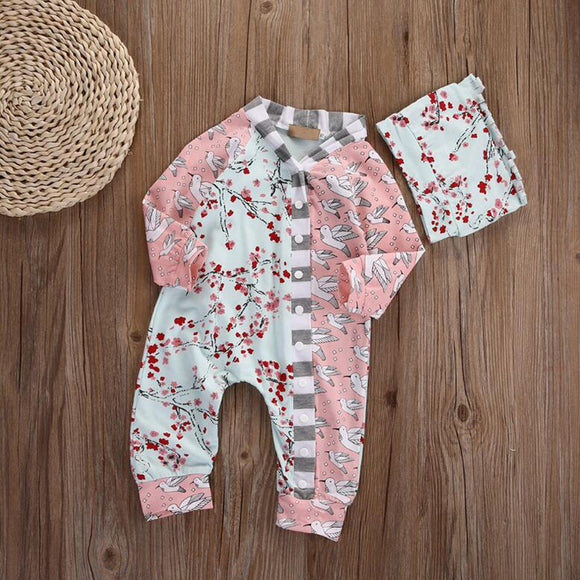 Newborn Infant Baby Girl Toddler Floral Romper Jumpsuit Bodysuit + Hat Outfits