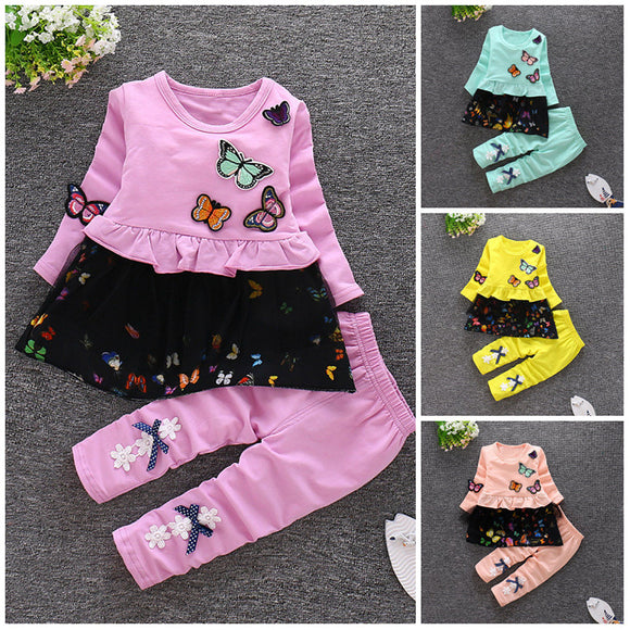 2Pcs Kids Baby Butterfly Clothes Girls Clothes Cotton Outfits Top+Pants Fashion