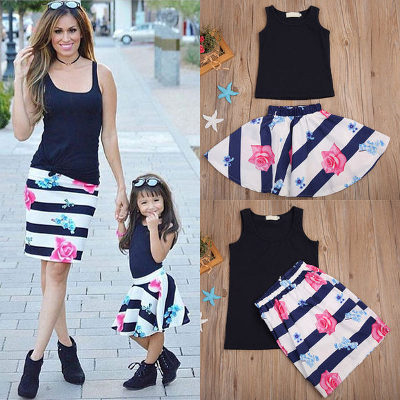 Mother and Daughter Casual Summer Vest Skirt Flower Dresses Matching Outfits NEW
