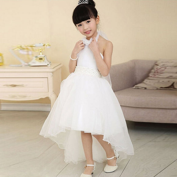White Elegant Flower Girls Princess Dress Kids Baby Party Pageant Lace Tulle Tutu Dresses