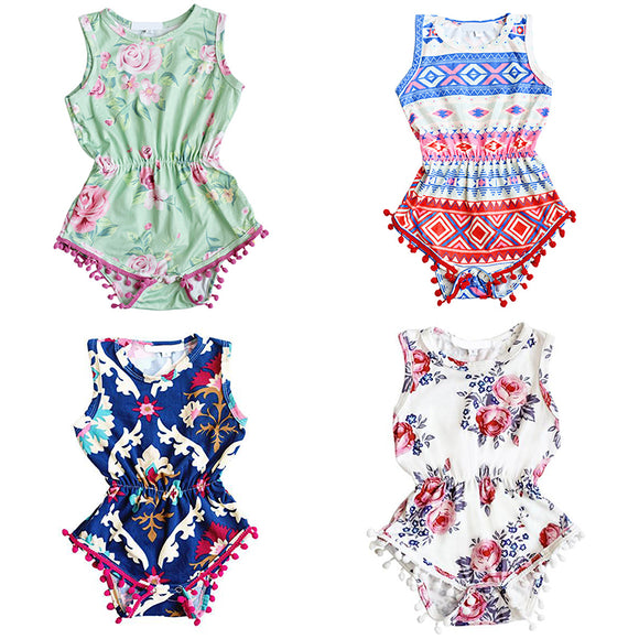 Flower Kids Girls Toddler Baby Newborn Infant Floral Sleeveless Romper Jumpsuit