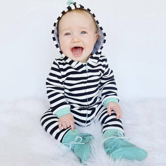 2017 Adorable Infant Baby Boy Clothes Hooded Long Sleeve Stripped Pattern Romper