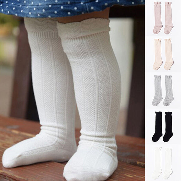Baby Toddler Girls Knee High Socks Tights Leg Cotton Soft Stockings S/M For 0-4Y