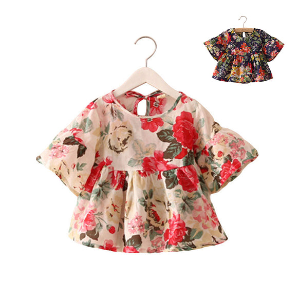 Kids Infant Newborn Baby Girls Floral Flounce Sleeve T-Shirt Tops Blouse Casual