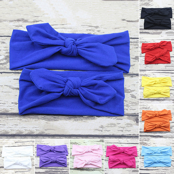 2PCS Mother Baby Bow Hairband Headband Stretch Turban Knot Head Wrap Bow Beauty
