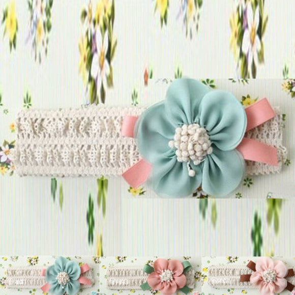 Kids Baby Girl Cute Toddler Lace Flower Pink Hair Band Headwear Headband