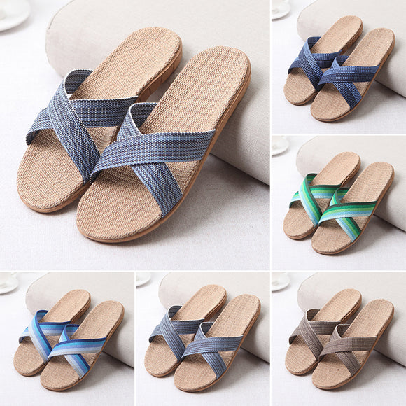 Fashion Men's Anti-slip Linen Home Indoor Summer Open Toe Flats Shoes Slippers