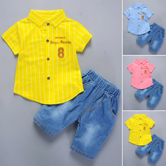 Summer Kids Boys Toddlers' Striped Short Sleeve Cotton Blouse Shirt Tops+Denim Shorts Set
