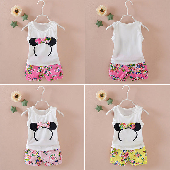 Girls Kids Baby Casual Floral Sleeveless Cotton A-shirt Tops+ Shorts Set Outfit Size S/M/L/XL