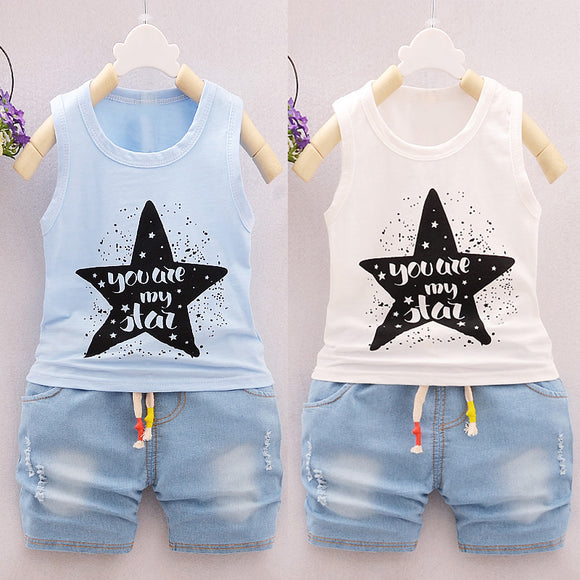 Cute Unisex Kids Children' S Sleeveless A-Shirt Tops+ Denim Lace-up Shorts Set Outfit Ye