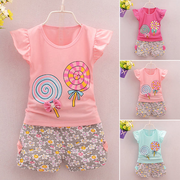 Summer Cute Girls Kids Children Clothes Fly Sleeve Cotton Tops  Floral Shorts Set Outfit