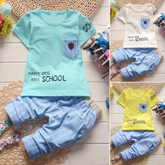NEW Fashion Boys Kids Baby Toddlers Short Sleeve Cotton T-shirt Tops+ Striped Pants Outfit