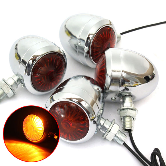 4x Metal Plating Motorbike Turn Signal Indicator Light For Harley Chopper Cafe