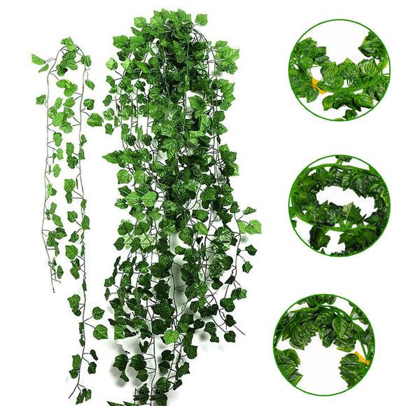 Fake Foliage Dried Green Leaf Plant Wall Decor Artificial Hanging Ivy Vine