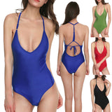 Zexxxy Sexy Women Backless Deep V-Neck One-Piece Bathing Swimsuit Swimwear
