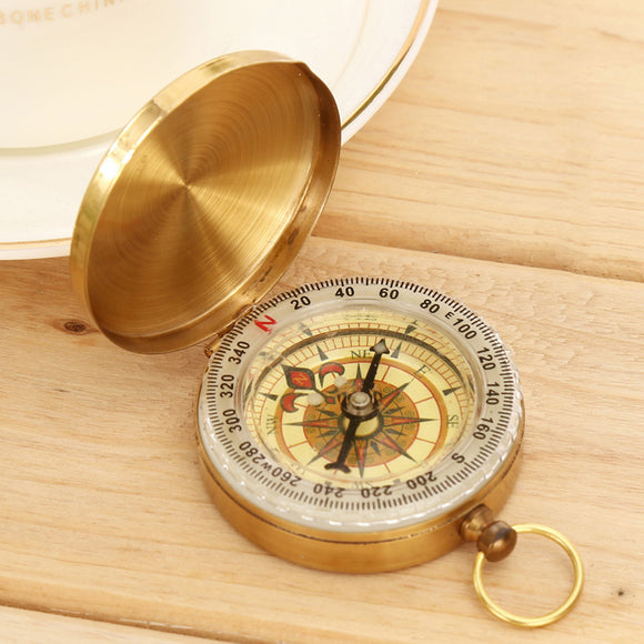 1pc Pocket Brass Compass Watch Style Outdoor Camping Hiking Navigation Keychain