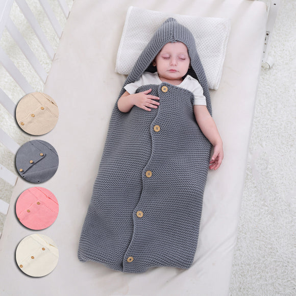 Newborn cute Baby Knit Crochet Swaddle Wrap Swaddling Blanket Sleeping Bags
