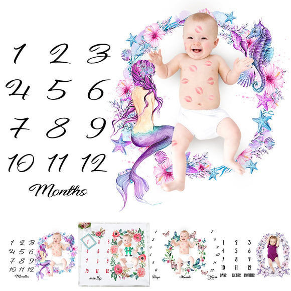 Newborn Baby Infant Floral Cotton Blanket Photography Photo Props Shoot Cloth
