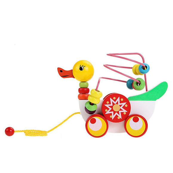 Baby Kids Infants Wooden Duckling Trailer Toy Counting Beads Obstacle Duck Toy