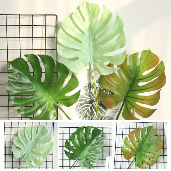 Soft Rubber Artificial Palm Fern Turtle Leaves Plastic Silk Fake Plant Leaf