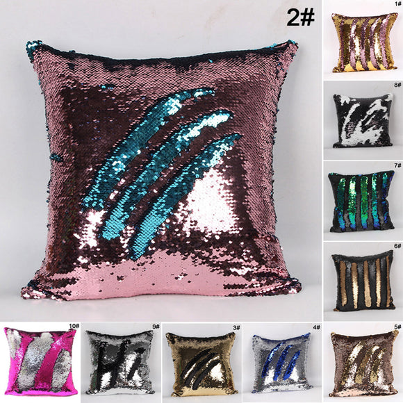 Mermaid Sequins Soft Square Throw Pillow Cases Zipper Cushion Cover