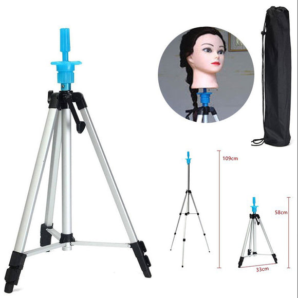 Adjustable Mannequin Head Tripod Hairdressing Training Head Holder Wig Stand
