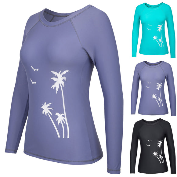 Stylish Womens Long Raglan Sleeve Swimwear Beachwear Athletic T-Shirt Tank Tops