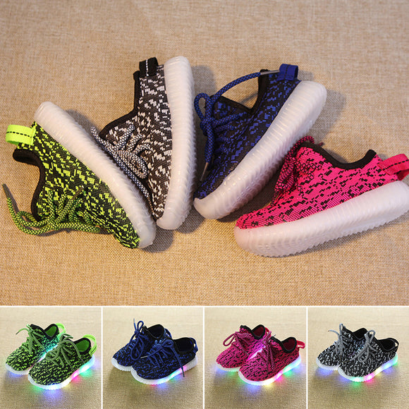 Child Kids Boy Girls Luminous Sneakers Running Shoes LED Flashing Light Up Shoes